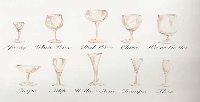 glassware - aperitif, white wine, red wine, claret, water goblet, coupe, tulip, hollow stem, trumpet, flute