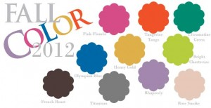 fall colors for 2012 with pink flambe, tangerine tango, ultramatine green, olympian blue, honey gold, bright chartreuse, french roast, titanium, rhapsody, and rose smoke