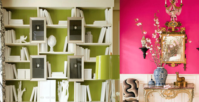 fall pantone colors as wall coverings in pink flambe and bright chartruese