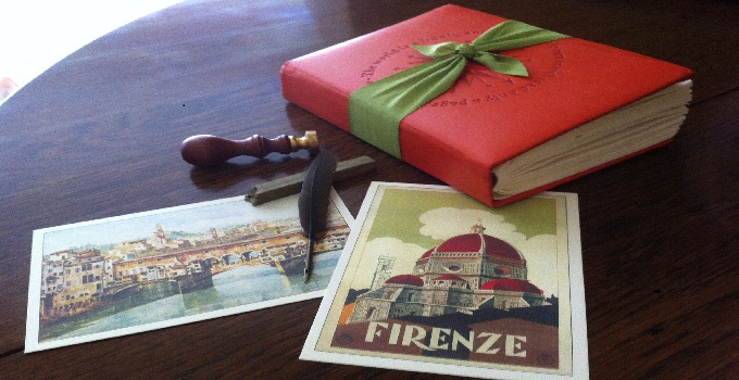 travel journal with elegant postcards of firenze