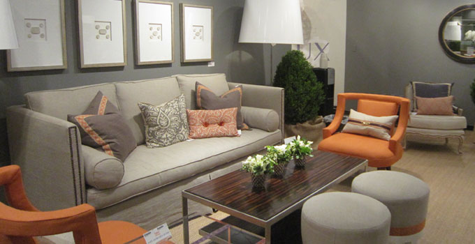 modern lines utilized in this grey and nectarine palette