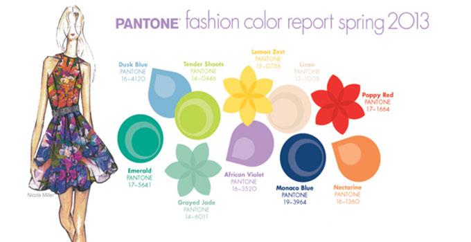 Pantone fashion color report 2013 in dusk blue, tender shoots, lemon zest, linen, poppy red, emerald, grayed jade, african violet, monaco blue, and nectarine
