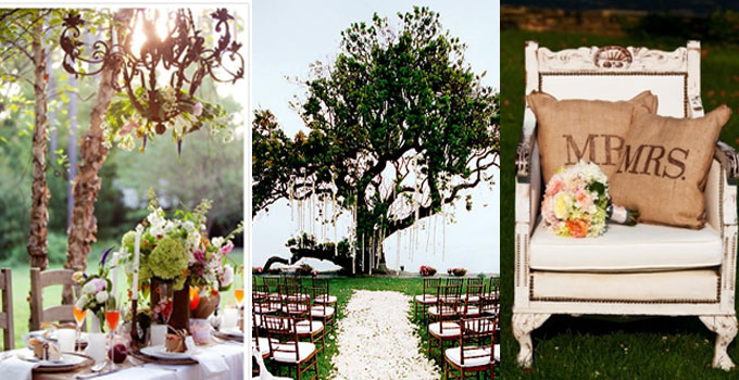 trifold images of outdoor wedding decorations, including Mr. and Mrs. pillows in an antiqued white accent chair