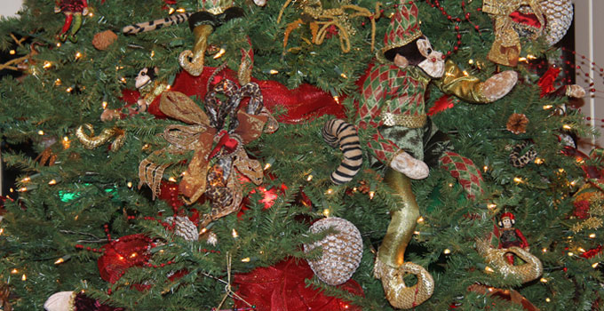 Decorated Christmas Tree with Monkeys