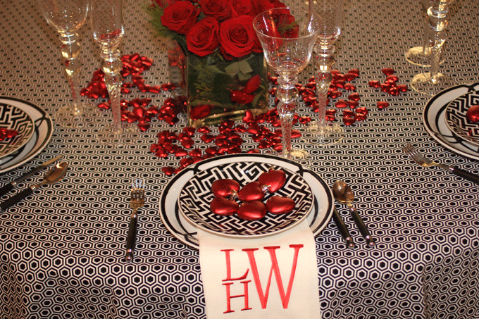 I had the table cloth made from fabric I found out HL Interiors-that is Hobby Lobby. I ordered the napkins from Pottery Barn and had them monogrammed. & Valentine\u0027s Table Setting - Hadley Court - Interior Design Blog