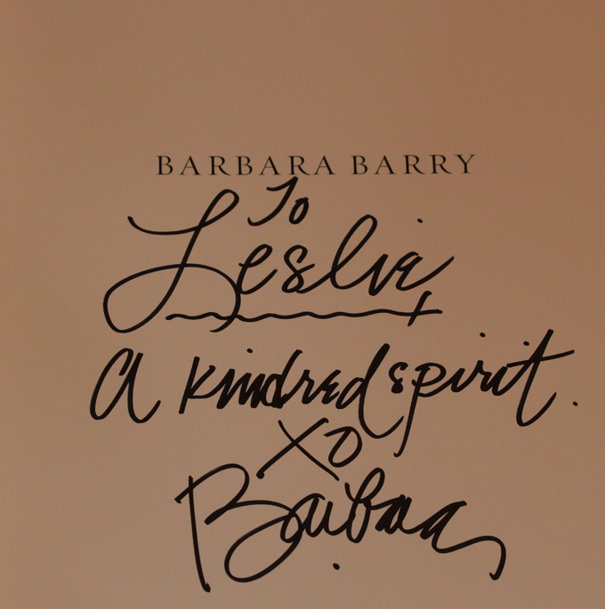 Pic of The designer, Barbara Barry's autographed card to Leslie