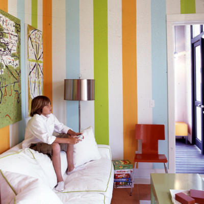 colorful vertical stripes on a wall