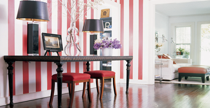 Red And White Striped Walls