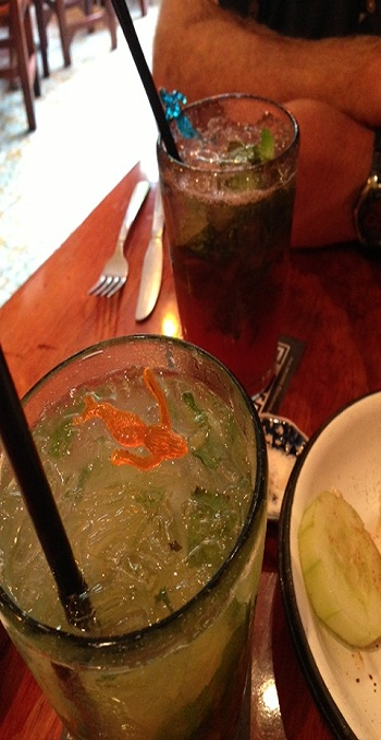 Watermelon & Pineapple Mojitos with some friends from the sea.