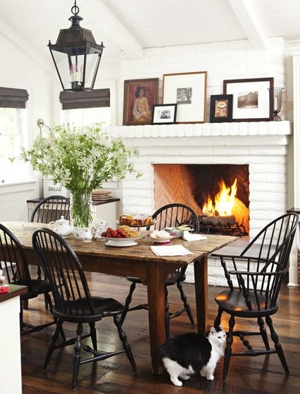 fall - fireplace kitchen via House Beautiful