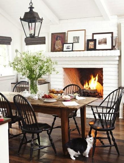 fall - fireplace kitchen via House Beautiful