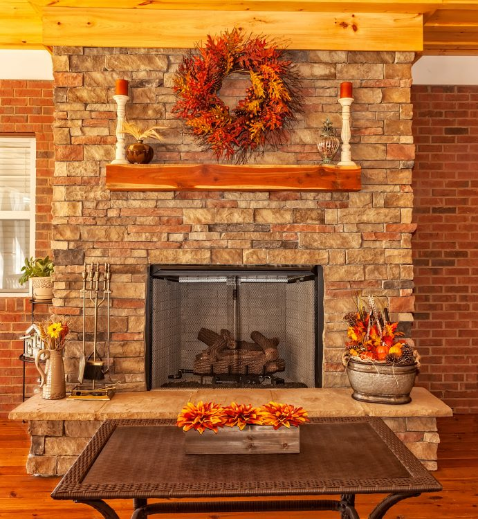 Autumn wreath above to your fireplace