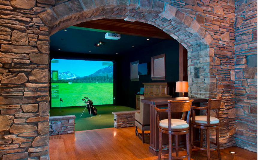 Superbowl Man Cave example with Bar