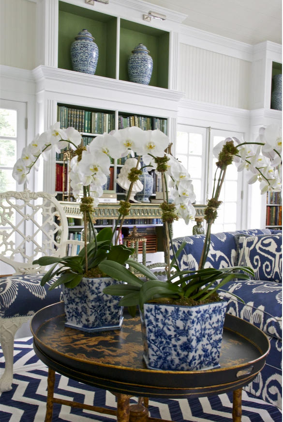 Beautiful white home library photo