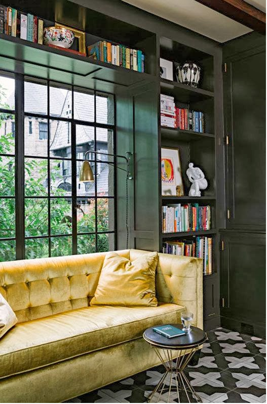 Window seat inside a home library photo