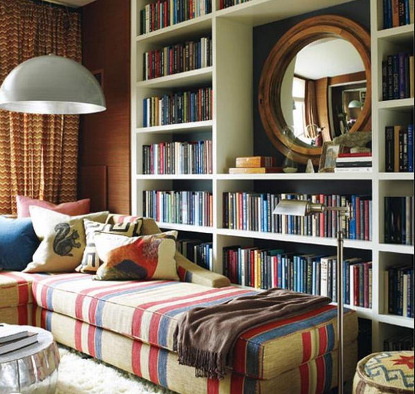 Large lamp inside a custom built library