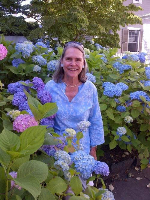 Alexandra Stoddard with hydrangeas photo