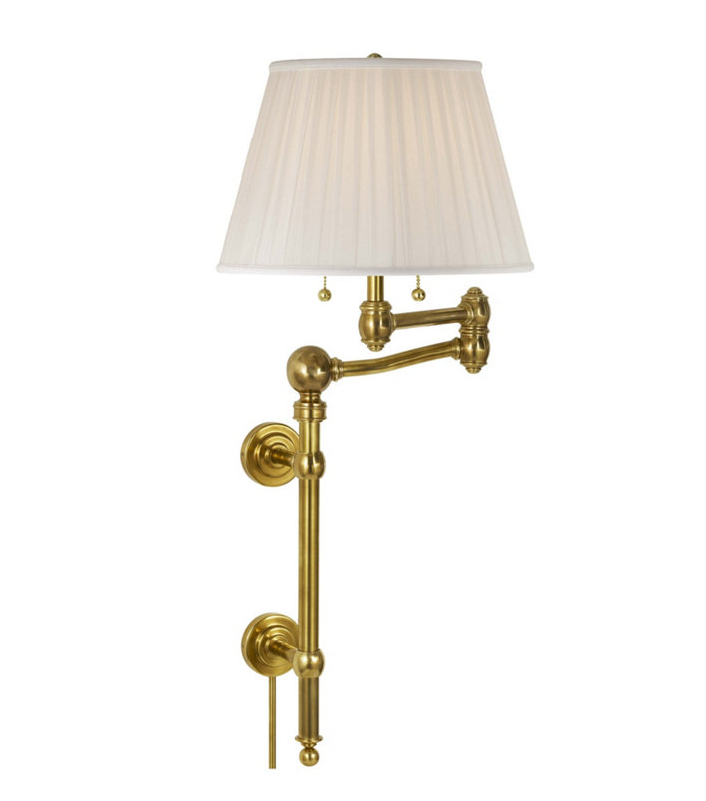 Wall mounted swing arm reading lamp