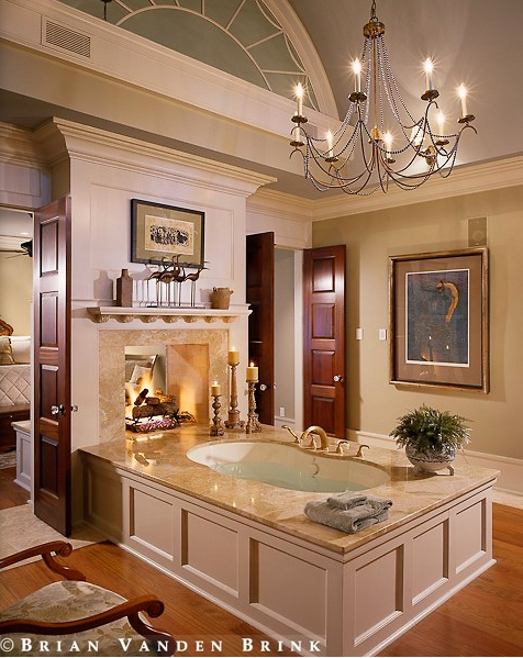 brian vanden brink bathroom design with fireplace - Luxury Master Bathroom