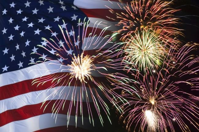 Fireworks & flag
