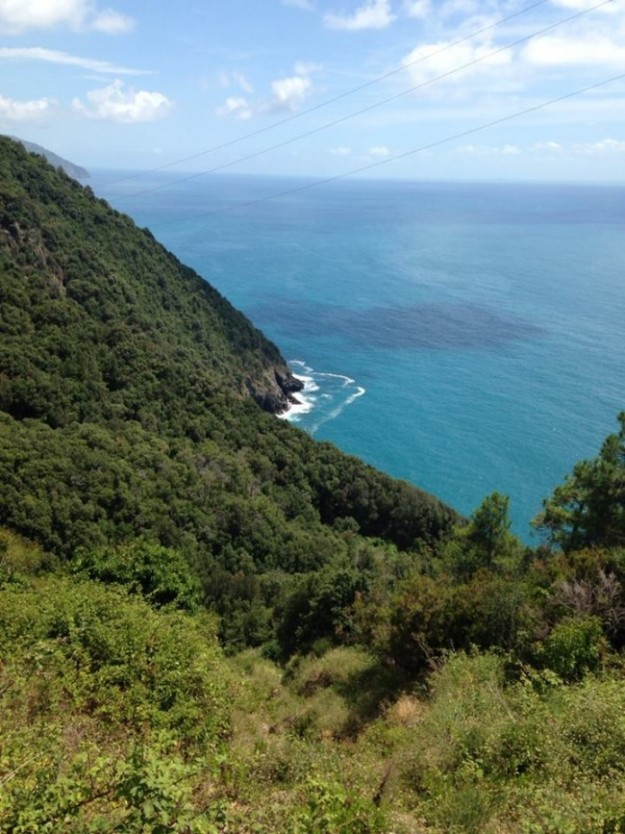 cinque terre cliff & blue water