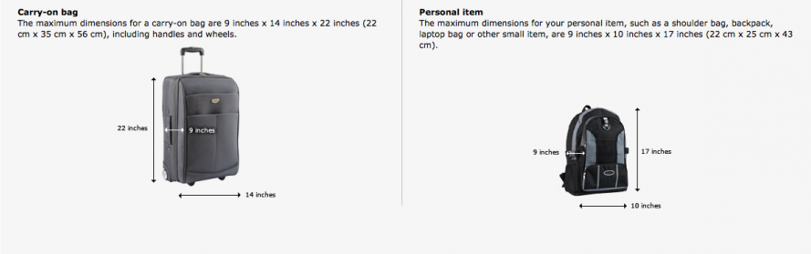 Carry on luggage size limits