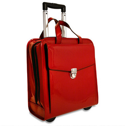 Milano red rolling briefcase