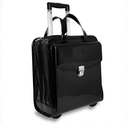 Milano black rolling briefcase for women