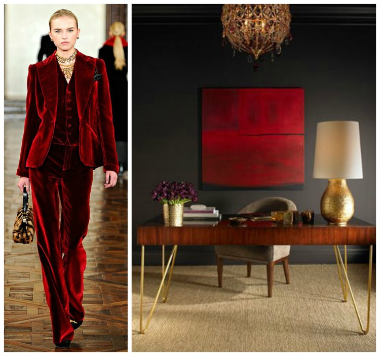 PANTONE ARURA RED - RL FALL WINTER - AL Furniture - Fashion & Decor Collage Lynda Quintero-Davids