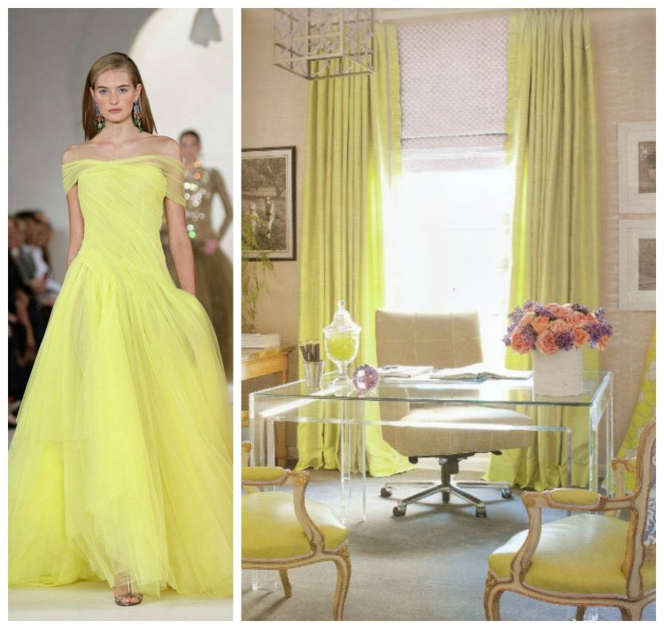 PANTONE CUSTARD - Timeless Ellegant & Classic - RL ss15 gown - Amanda Nesbet Office - Fashion & Decor Collage Lynda Quintero-Davids