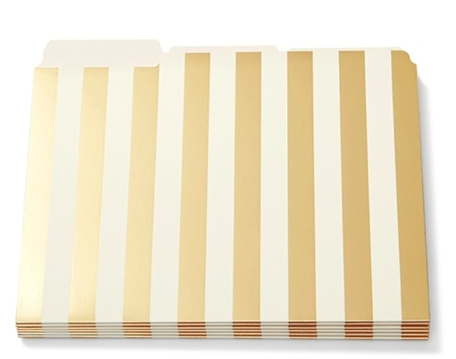 Gold Stripped Filing Folders for a Luxurious Desk