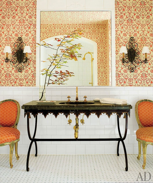 Bunny Williams - French Iron and Marble sink - AD Magazine feature