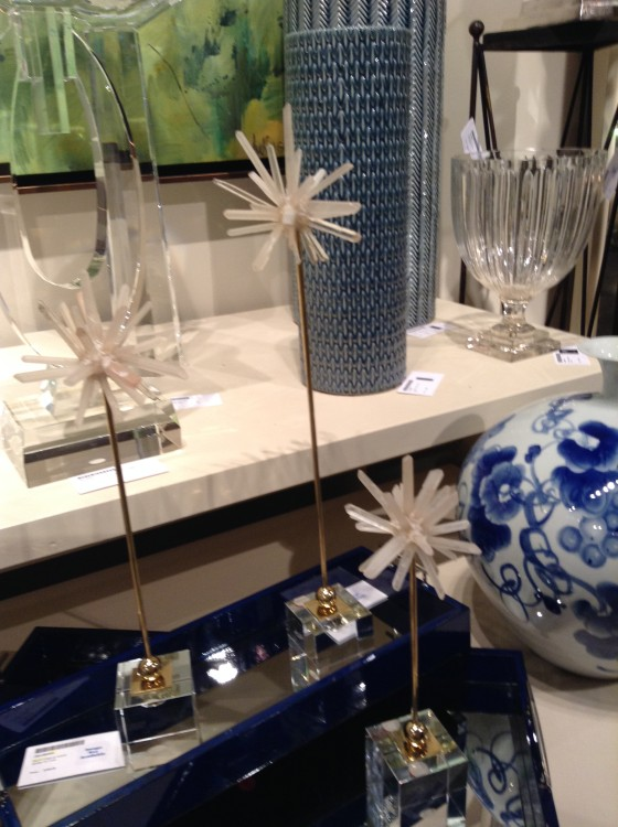 Photo of a set of 3 selenite crystal starbursts on lucite stands