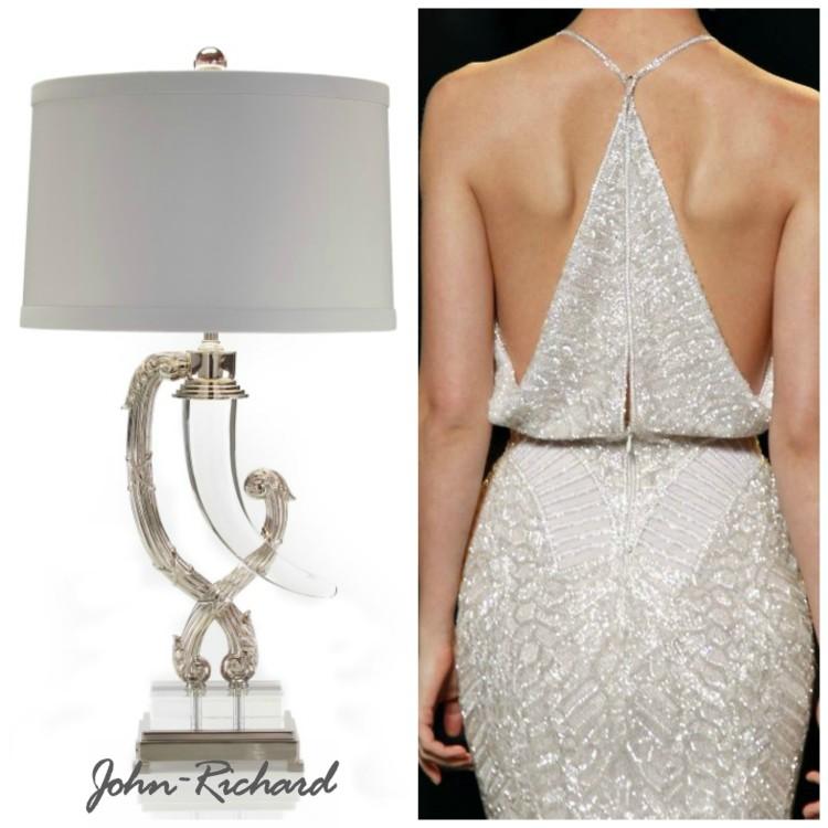 crystal shaped horn table lamp from john richard collection