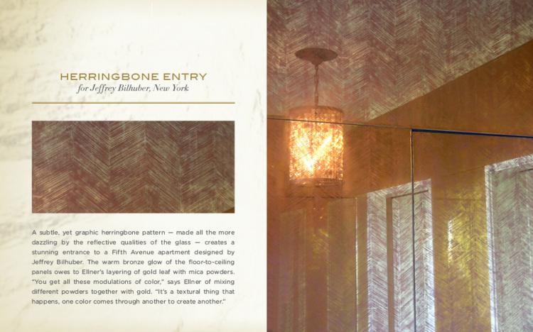 custom herringbone verre eglomise design