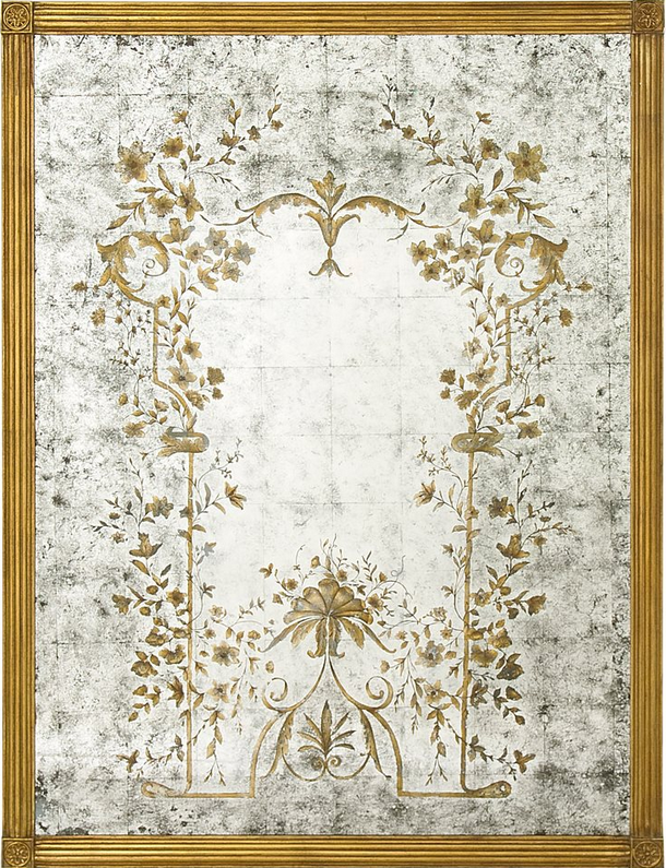 verre eglomise mirror with its gold leaf gilt wood frame