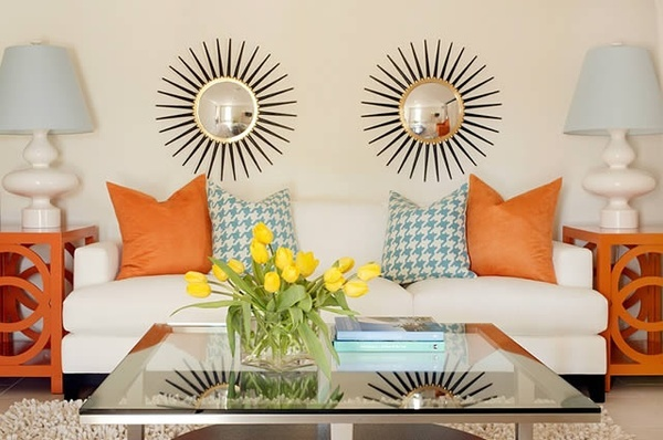 Modern small sunburst mirror