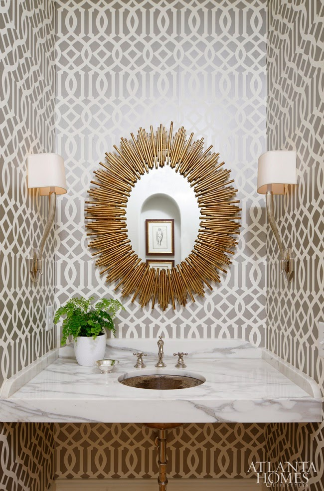 sunburst mirror in Atlanta Powder room