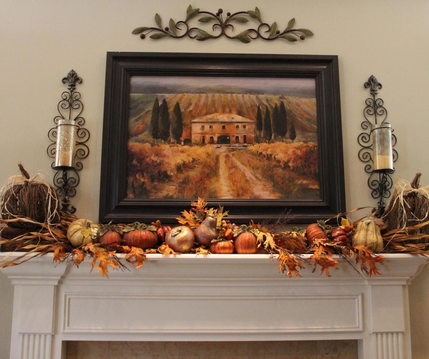 fireplace mantel decor ideas for decorating for thanksgiving 862x721