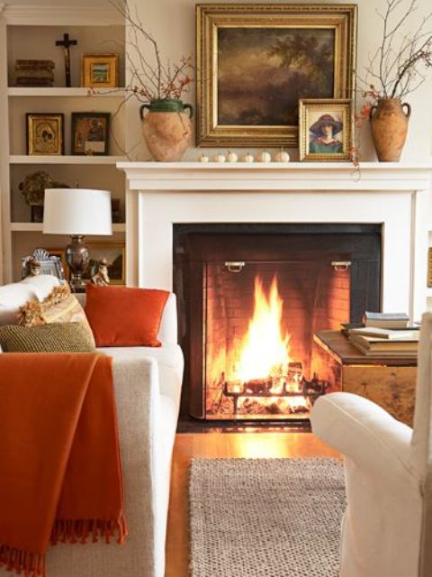 Autumn Living Room Decorating: Fireplace Mantel Decor Ideas For Decorating For Thanksgiving