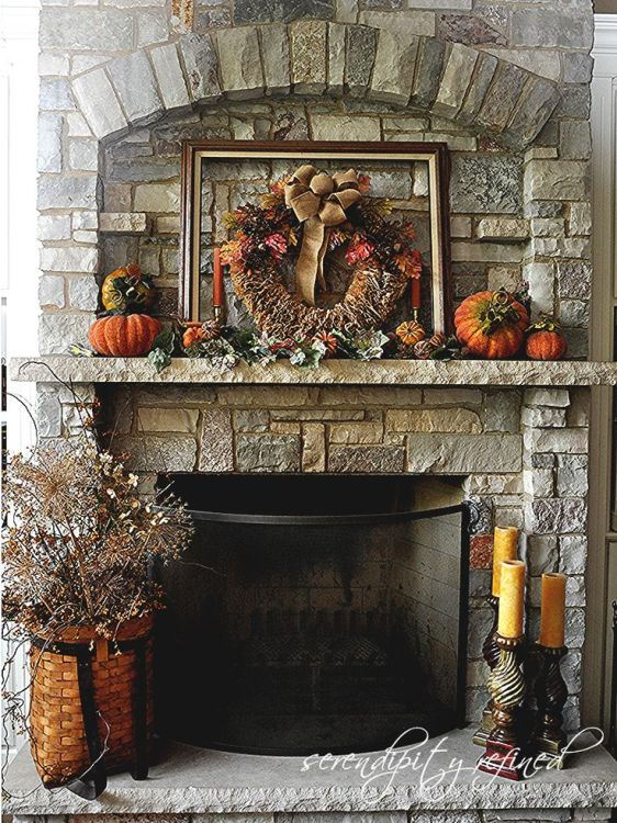 fall wreath for mantel photo