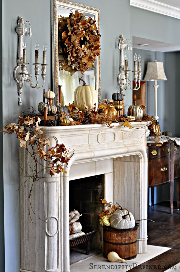 Fireplace mantel decor ideas for decorating for thanksgiving for Decoration usine vintage