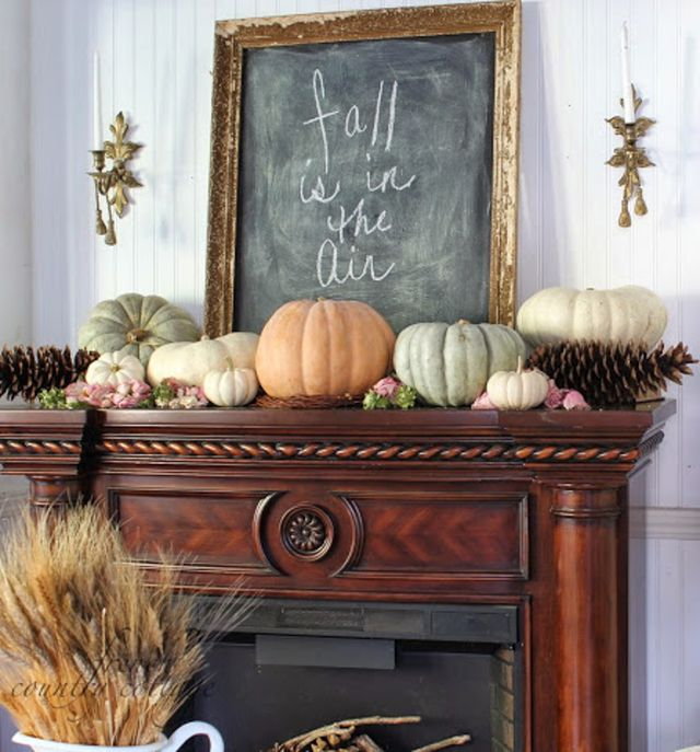 Fireplace mantel decor ideas for decorating for thanksgiving chalkboard fireplace mantel decor teraionfo