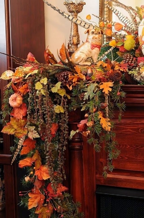 fall mantel decor idea photo