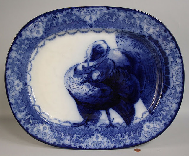 Flow Blue turkey platter