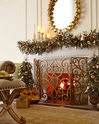 patrice medallion fireplace screen from horchow - Christmas Fireplace Screen