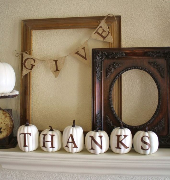 Thanksgiving mantel decor idea