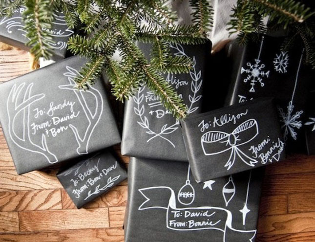 Chalkboard type Christmas Gift Wrap
