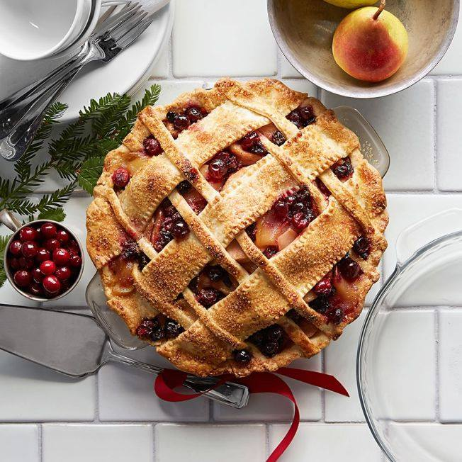 pears and cranberries make a colorful filling for this winter pie - WS