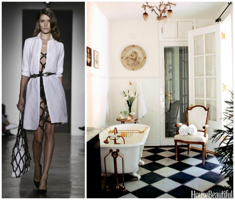 EDGY FASHION AND TIMELESS CLASSIC BATH DESIGN PAIRING collage for Hadley Court Blog - by Lynda Quintero-Davids